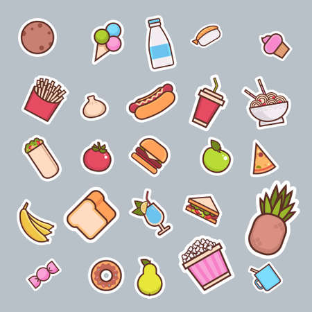 cartoon fast food concept different icons collection vector illustration Foto de archivo - 134962682