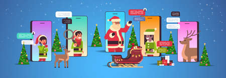 santa claus with elves helpers using chatting app social network communication new year christmas holidays celebration concept smartphone screen online mobile application portrait horizontal vector illustration