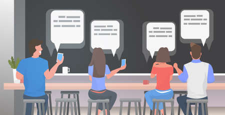 people using chatting app menwomen sitting at counter desk social network speech chat bubble communication concept rear view visitors relaxing modern cafe interior horizontal portrait vector illustration Illusztráció