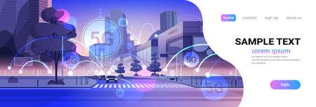 Smart city 5G réseau de communication en ligne concept de connexion de systèmes sans fil cinquième génération innovante d'Internet haut débit mondial paysage urbain moderne fond plat horizontal copie espace illustration vectorielle Vecteurs