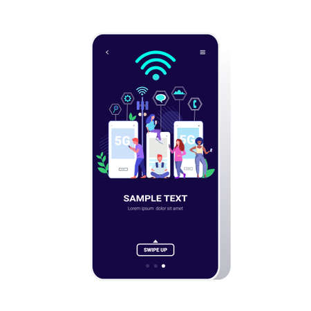 people using digital gadgets 5G online wireless system connection fifth innovative generation of internet full length smartphone screen copy space vector illustration