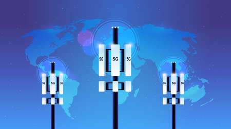 base station receiver 5G online communication tower network technology systems connection information transmitter concept global high speed internet world map background flat horizontal vector illustration