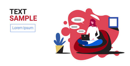 woman using laptop computer chatting app social network speech chat bubble communication concept girl sitting on bean bag lotus pose full length horizontal copy space vector illustration Illustration
