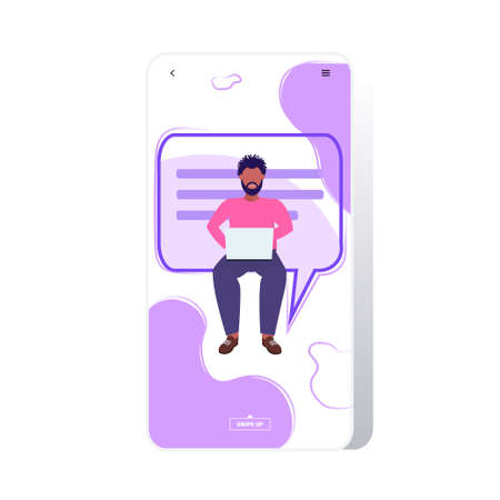 man using laptop computer chatting app social network communication concept african american guy sitting with chat bubble speech online messaging application full length vector illustration Illustration