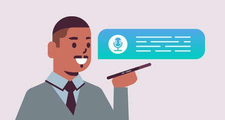 african american man using smartphone voice assistant speech recognition mobile application social network communication message recording concept horizontal portrait vector illustration
