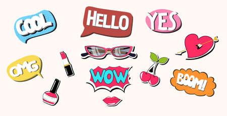 retro comic chat bubble set colorful pop art speech collection horizontal vector illustration Stock Illustratie
