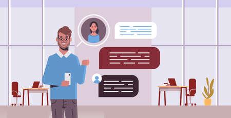 guy using smartphone social network chat bubble communication concept man chatting with woman online mobile app modern office interior portrait horizontal vector illustration Illusztráció