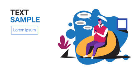 man using smartphone mobile chatting app social network speech chat bubble communication concept businessman sitting on bean bag full length horizontal copy space vector illustration Stock Illustratie