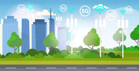 base station receiver smart city 5G online communication tower network technology systems connection information transmitter concept modern cityscape background flat horizontal vector illustration