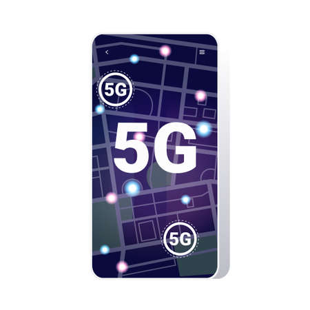spot lights on city map 5G online communication wireless systems connection concept fifth innovative generation of high speed internet city streets top angle view smartphone screen mobile app vector illustration