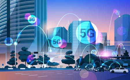 smart city 5G online communication network wireless systems connection concept fifth innovative generation of global high speed internet modern cityscape background flat horizontal vector illustration  イラスト・ベクター素材