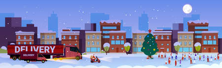santa claus driving delivery truck people having fun merry christmas happy new year winter holidays celebration concept modern city street cityscape background full length horizontal vector illustration