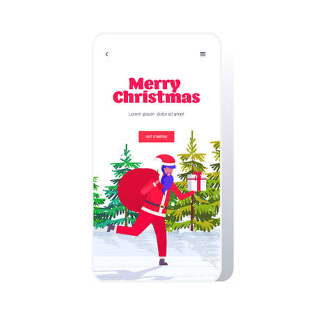 santa claus running with big sack full of gifts merry christmas happy new year holidays celebration concept landscape background smartphone screen online mobile app full length vector illustration