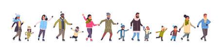 people skating on ice rink winter sport activity recreation at holidays concept mix race parents with children spending time together full length horizontal banner vector illustration Ilustração