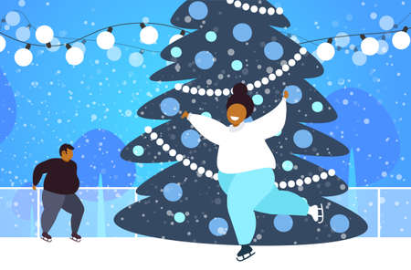 fat couple at ice-skating rink with fir tree merry christmas new year holidays concept overweight african american man woman spending time together full length horizontal vector illustration Illusztráció