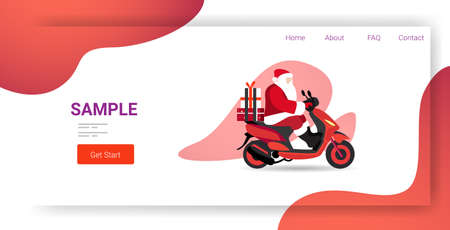 santa claus with gift present boxes riding delivery scooter merry christmas happy new year winter holidays celebration concept full length horizontal copy space vector illustration