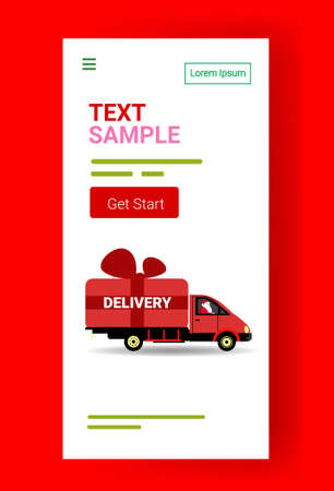 santa claus driving delivery van with gift box container shipping transport for merry christmas happy new year winter holidays celebration concept vertical copy space vector illustration
