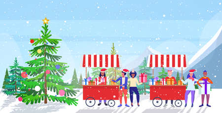 sellers in santa hat selling present boxes mix race people doing shopping and buying presents on christmas market or fair winter holidays concept landscape background full length sketch horizontal vector illustration