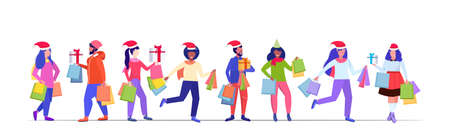 mix race people in santa hats carrying shopping bags and gift present boxes merry christmas happy new year winter holidays celebration concept full length sketch horizontal vector illustration