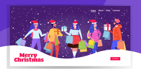 mix race people in santa hats carrying shopping bags and gift present boxes merry christmas happy new year winter holidays celebration concept full length greeting card horizontal vector illustration Ilustracja