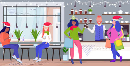 mix race people drinking coffee men women in santa hats discussing during meeting modern cafe interior full length sketch horizontal vector illustration 向量圖像