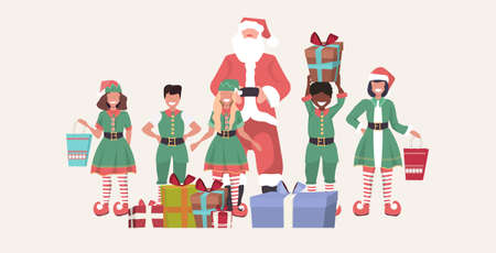 santa claus with mix race elves standing together near gift boxes merry christmas happy new year holiday presents concept horizontal full length sketch vector illustration