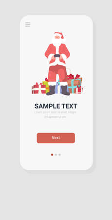 santa claus standing near gift present boxes merry christmas happy new year holidays celebration concept smartphone screen online mobile app full length sketch vertical vector illustration