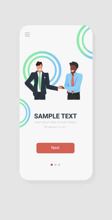 business men shaking hands mix race businessmen couple hand shake successful agreement deal partnership concept smartphone screen online mobile app portrait vertical vector illustration Ilustracja