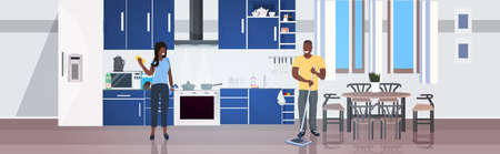 woman using rag man mopping floor family doing housework cleaning service concept modern kitchen interior horizontal full length vector illustration