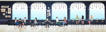 people sitting at cafe tables mix race visitors discussing during meeting modern restaurant interior horizontal sketch full length vector illustration Vettoriali