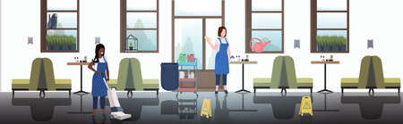 couple cleaners using rag and vacuum cleaner mix race female janitors in uniform cleaning service concept modern cafe interior horizontal full length sketch vector illustration