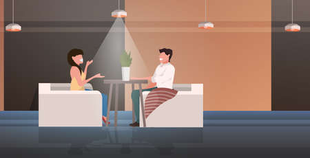 couple sitting at cafe table happy man woman discussing during meeting romantic date concept modern restaurant interior horizontal full length vector illustration Illusztráció