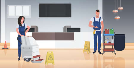 couple cleaners vacuum cleaner happy man woman janitors in uniform floor care cleaning service concept modern business center lobby interior horizontal full length vector illustration