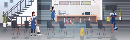 cleaners team working together mix race janitors in uniform floor care cleaning service concept modern cafe interior horizontal full length vector illustration