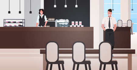 male waiter with female barista working together man woman in uniform standing near counter desk modern cafe interior horizontal full length vector illustration Ilustracja