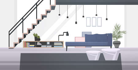lounge area or waiting room with sofa book shelf coffee table and staircase modern office interior horizontal vector illustration Vettoriali