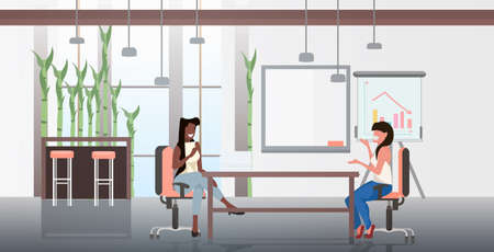 mix race businesswomen sitting at workplace business women discussing new startup project during meeting teamwork concept modern office interior horizontal full length vector illustration