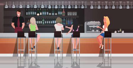 people sitting at bar counter desk waiter serving female visitors women discussing during meeting friends spending time together modern cafe interior horizontal vector illustration Illustration