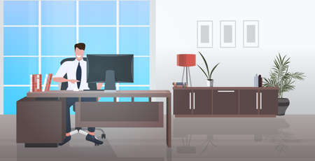 businessman sitting at workplace smiling business man working at laptop modern office interior horizontal vector illustration Ilustracja
