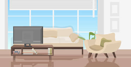 modern living room with furniture contemporary hoe apartment interior horizontal vector illustration