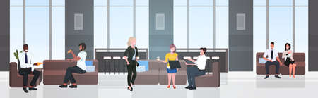 mix race businesspeople having coffee break business people discussing during meeting creative co-working center office interior horizontal full length vector illustration