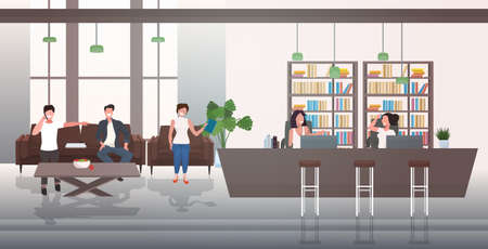 businesspeople discussing during meeting in lobby with reception counter creative co-working business center office interior horizontal full length vector illustration 일러스트