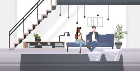 mix race businesspeople couple sitting on couch man woman discussing during meeting modern office waiting room interior horizontal full length vector illustration 일러스트