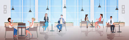 people sitting at cafe tables mix race visitors discussing during meeting modern restaurant interior horizontal full length vector illustration