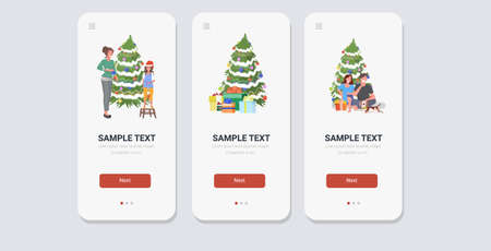 set mix race people celebrating merry christmas happy new year winter holidays concept smartphone screens collection online mobile app full length horizontal vector illustration