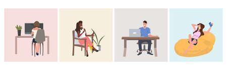 set mix race people sitting on armchair men women using laptop or smartphone digital gadgets full length horizontal vector illustration 일러스트
