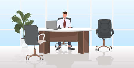 businessman sitting at workplace smiling business man working at laptop modern office interior horizontal vector illustration Illustration