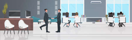 businessmen shaking hands businesspeople sitting at workplaces successful teamwork concept creative co-working center office interior horizontal full length vector illustration