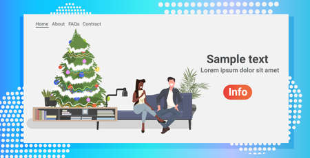 mix race couple sitting on couch near decorated christmas tree man woman discussing during meeting modern living room interior horizontal full length copy space vector illustration