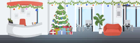 coworking center decorated for christmas holidays modern waiting hall with reception desk office interior horizontal vector illustration